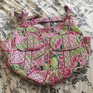 Vera Bradley Messenger Bag (Green & Pink Paisley)